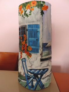 COSAS DE CARI: TEJA PINTADA AL OLEO  (PAISAJE DE GRECIA) Stone Painting, Painting On Wood, Roof Cap, Roof Tiles, Fairy Houses, Recycled Crafts, Bottle Art, Decoupage, Crafts To Make