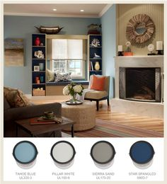 Accent rich deep sea #blues with pops of a compliment like a poppy #orange #BEHRPaint