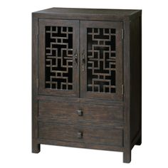 Intricate Fretwork Is Balanced By Wide Drawers And Generous Storage In This Charcoal Stained, Distressed Pine Cabinet With An Interior Shelf And Antiqued Bronze Hardware.