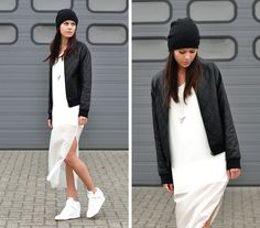 beanie. quilted pleather jacket. white dress. nike dunk sky hi.