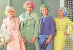 [image description: a closeup of a juicy couture advertisement from 2006 shot by tim walker. this image shows four older women (in their or with candy coloured hair and contrasting. Juicy Couture, Unnatural Hair Color, Cotton Candy Hair, Lauren Hutton, Tim Walker, Advanced Style, Young At Heart, Inspiration Mode, Aging Gracefully