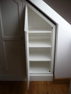 Handy eaves storage in attic or under stairs in hall. Maybe line with cedar for mini-cedar closets for sweaters, etc. Closet Under Stairs, Space Under Stairs, Eaves Storage, Loft Storage, Shoe Storage, Deck Storage, Storage Organization, Loft Room, Bedroom Loft