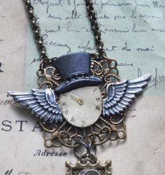 Steampunk Tophat Necklace with winged watch face - $45.00 - Handmade Jewelry, Crafts and Unique Gifts by AbsyntheDesigns #steampunk #steampunknecklace #handmadejewelry #uniquegifts #tophats