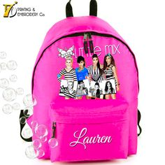 Little Mix Black & White Stripe -  Personalised School Backpack