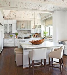 like the double island and large kitchen.  do not like ceiling for our house
