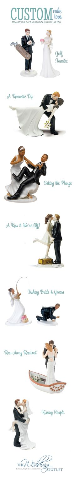 Custom Wedding Cake Toppers - make your day and your cake look and feel just like you! Customize hair color and skin color, so many looks to choose from.