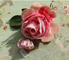 Vintage gorgeous velvet rose spray Marshall Fields tagged warm pink millinery flower gorgeous shade  trim chiffon rose