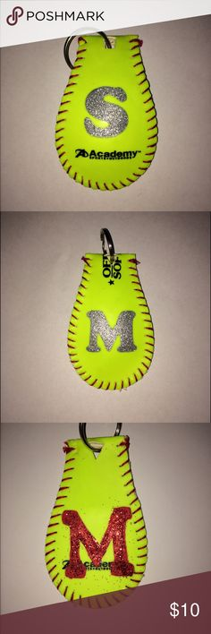Hand made softball and baseball cover keychains. $10 for just a regular cover keychain.                      $12-$15 for one initial. Other