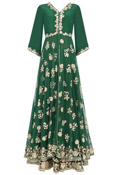 Emerald green and gold embroidered kalidaar anarkali set available only at Pernia's Pop Up Shop.