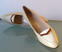Made in Italy Salvatore Ferragamo Bone Pumps  Size 9 US by EurotrashItaly on Etsy
