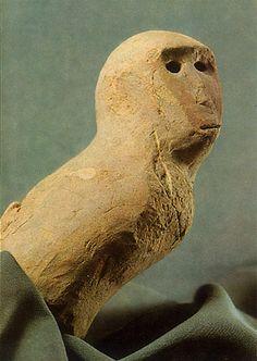 Haniwa terracotta clay figure.   Monkey.  Ibaraki Japan.
