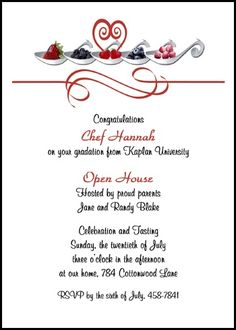 create your custom new chef graduation announcements and cooking school invitations for culinary school, cooking culinary school, and culinary cooking school graduates with word samples at http://www.graduationcardsshop.com/culinary-cooking-school-new-chef-graduation-wording.htm