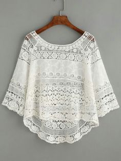 Shop White Crochet Hollow Out Dip Hem Blouse online. SheIn offers White Crochet Hollow Out Dip Hem Blouse & more to fit your fashionable needs. Boho Fashion, Fashion Outfits, Womens Fashion, Dress Fashion, Blouse Sexy, Collar Blouse, Mode Outfits, Mode Style, Lace Tops