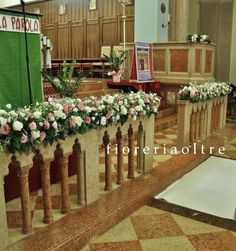 Fioreria Oltre/ Wedding ceremony/ Church wedding flowers/ Altar rails decoration/ White and pink lisianthus Church Wedding Flowers, Church Wedding Decorations, Wedding Wows, Dream Wedding, Wedding Dreams, Bridezilla, Hair And Beard Styles, Flower Arrangements, Bouquet