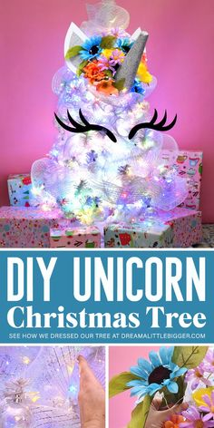 This magical DIY Unicorn Christmas Tree is gorgeous and so simple to create. Make a custom unicorn tree topper and see how we dressed ours! Unique Christmas Trees, Alternative Christmas Tree, Ribbon On Christmas Tree, Christmas Tree Design, Christmas Tree Themes, Christmas Tree Toppers, Christmas Holidays, Christmas Crafts, Christmas Ornaments