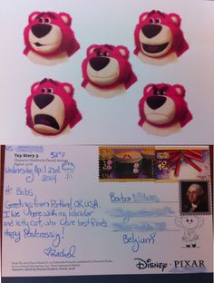61st Postcard, sent to Belgium. Art of Disney/Pixar Postcard set, concept art from Toy Story 3. This person said she really liked teddy bears..... #Postcrossing