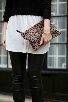 leather leggings + animal-print clutch