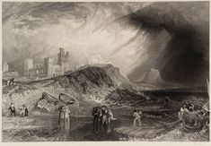 After Joseph Mallord William Turner 'Holy Island, Northumberland, engraved by W. Oil Paintings, Original Paintings, Turner Watercolors, Turner Painting, English Romantic, Joseph Mallord William Turner, English Artists, 2d Art, Impressionism