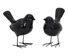 Set di 2 uccellini decorativi in resina nera - 16x14x 8 cm | Dalani Home & Living