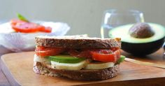 Caprese Sandwich With Avocado Ingredients 2 (About 250 g) Buffalo Mozzarella Balls, sliced 2 Ripe Heirloom Tomatoes, sliced A Handf. Wrap Recipes, Lunch Recipes, Vegetarian Recipes, Cooking Recipes, Healthy Recipes, What's Cooking, Sandwich Recipes, Sammy, Brunch