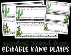 Editable Name Plates - Cact... by Purely Primary By Alma Alexander   Teachers Pay Teachers