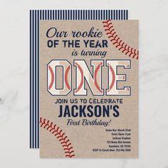 1st Birthday Invitation Wording, Invitation App, Baseball Birthday Invitations, Baseball First Birthday, Baby Boy 1st Birthday, Birthday Ideas, Sports Birthday, Shower Invitations, Invite