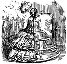 Cutaway view of a crinoline, Punch magazine, August 1856  A woman was walking down the steps of jetty at Margate and the wind caught under her crinoline and she fell into the water.