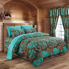 The Woods Teal Camouflage Queen 8pc Premium Luxury Comforter, Sheet, Pillowcases, and Bed Skirt Set by Regal Comfort Camo Bedding Set For Hunters Cabin or Rustic Lodge Teens Boys and Girls