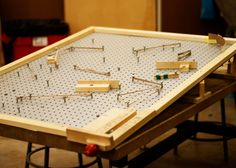 DIY pegboard pinball game at the Children's Museum of Pittsburgh