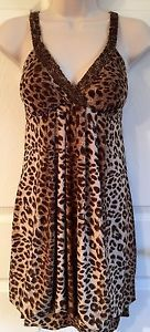 WET SEAL Animal Print Silky Beaded V-Neck Bubble Dress L Juniors 9 11 Sexy EUC