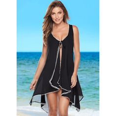 Venus Women's Tie Front Cover-up ($22) ❤ liked on Polyvore featuring swimwear, cover-ups, black, sheer cover up, cover up swimwear, venus cover ups, venus cover up and sheer cover up swimwear