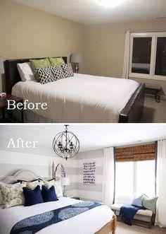 use large gray horizontal stripes visually elongate the wall make small bedroom look bigger designs