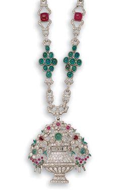 Art Deco Platinum, Diamond, Emerald & Ruby Pendant Necklace, c. 1925, signed H. Lyon et Ses Fils - Paris