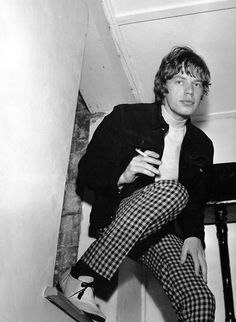 MICK JAGGER IN CHECK PANTS -A FAVORITE BACK IN THE DAY.