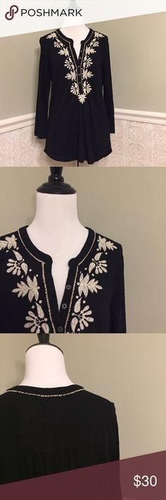 Lucky Brand embroidered tunic top - Size L - NWOT Lucky Brand embroidered tunic top - size L - button-front - 100% cotton - never worn - NWOT Lucky Brand Tops Tunics