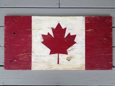 Hand painted, distressed Canadian flags by Etsy shop, Halyard