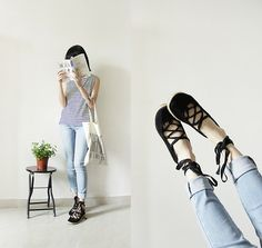 Uniqlo Top, H Shoes, Uniqlo Jeans