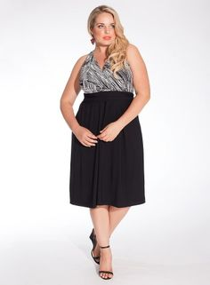 Heidi Halter Dress in Black/White