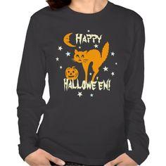 Happy Halloween Orange Cat Pumpkin Crescent Moon T-shirts