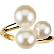 14K Yellow Gold Fresh Water Cultured Pearl Ring