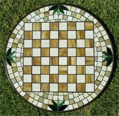 mosaic glass chess table