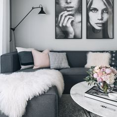 one of my favorite living rooms. Pastel Pink, Black, Grey, White
