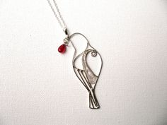925 Sterling Silver Hand Made Bird Necklace Sparrow by JollyJewel, $45.00