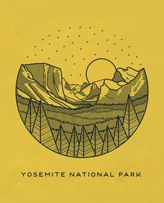 This logo uses simple design skills to create an intricate scene of the Yosemite National Park. Although this is probably too intricate for my project, it is very interesting. Into The Wild, Yosemite National Park, National Parks, Illustrations, Illustration Art, Line Art, Park Art, Mellow Yellow, Animation