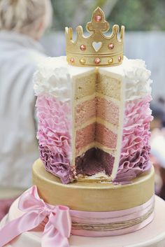 Bubble and Sweet: How to eat a Tiara - Pink Ruffle Princess Cake with Edible Gold Tiara
