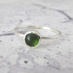 Tourmaline Ring - Sterling Silver Ring - Stacking Stone Set Ring - Slim Sterling…