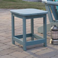 Belham Living Seacrest Cottage All Weather Resin Square Side Table - Capri Blue | from hayneedle.com