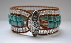 Turquoise Leather Beaded Cuff Bracelet  Boho Bracelet by RealMoxie, $60.00