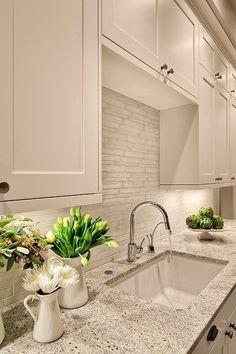 A White Dominant of Backsplash for Kitchen:Modern White Backsplash White Granite Tile Backsplash For Kitchen Design.jpg by bertadeluca