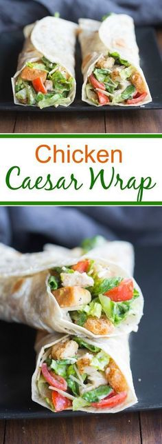 Chicken Caesar Wrap Chicken Caesar Wraps make a great easy dinner your family will love! Fridge to table in just 15 minutes! Lunch Snacks, Lunch Recipes, Dinner Recipes, Cooking Recipes, Sandwich Recipes, Vegetarian Sandwiches, Cooking Games, Salad Recipes, Chicken Caesar Wrap